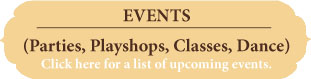 Events including classes, playshops, and parties for shrines, art, altars, painting
