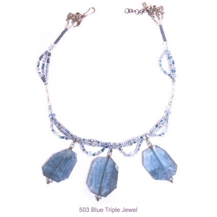 blue triple jewel necklace